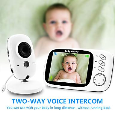 hesapli Akıllı Ev-Dijital 3mp cmos kablosuz 6mm lens gece görüş bebek monitörü iki yönlü interkom ip kamera sıcaklık göstergesi ninni güç tasarrufu modu ev güvenlik kamera