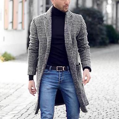 povoljno Men's Winter Coats-Muškarci Dnevno Osnovni Proljeće & Jesen Veličina EU / SAD Normalne dužine ogrtač, Houndstooth Crno i sivo Ravni ovratnik Dugih rukava Drugo Kolaž Sive boje