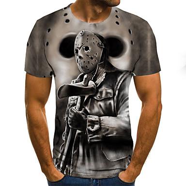 povoljno Muške majice i potkošulje-Majica s rukavima Muškarci - Ulični šik / Punk & Gotika Dnevno / Izlasci Color block / 3D / Crtani film Print Sive boje