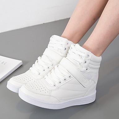 povoljno Cipele i torbe-Žene Sneakers Skrivena peta Okrugli Toe PU Jesen zima Crno-bijeli / Dusty Rose / Fuksija