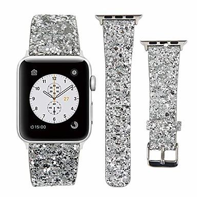 Недорогие Ремешки для Apple Watch-яблоко смотреть кожаный ремешок 38 мм 40 мм 42 мм 44 мм женщина bling блеск замена ремешка iwatch серии 5 4 3 2 1 спорт издание