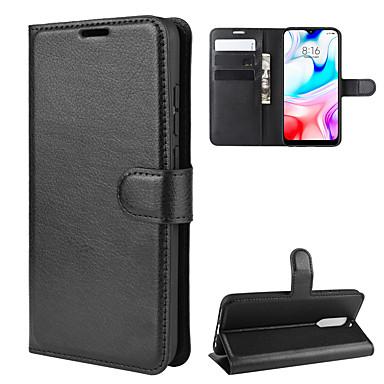 Недорогие Чехлы и кейсы для Xiaomi-Кейс для Назначение Xiaomi Redmi Note 8 / Redmi Note 8 Pro Кошелек / Бумажник для карт / Защита от удара Чехол Однотонный Кожа PU