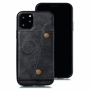 billige iPhone-etuier-Etui Til Apple iPhone 11 / iPhone 11 Pro / iPhone 11 Pro Max Kortholder Bakdeksel Ensfarget PU Leather / TPU