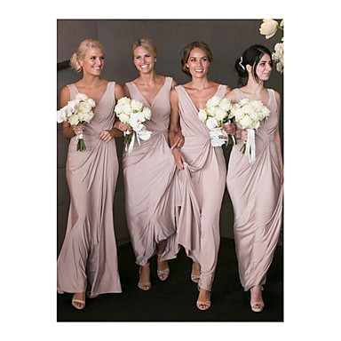 cheap Bridesmaid Dresses-A-Line V Neck Floor Length Jersey Bridesmaid Dress with Ruching