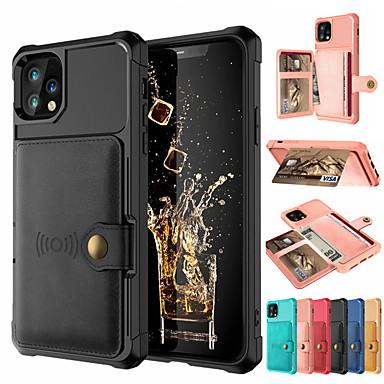 povoljno Slučajevi i prekrivači-futrola iphone11 / 11pro / 11promax / x / xs / xr / xs maks. novčanik / držač za karticu / štitnik od udarca stražnji dio od pune boje pu kože / pc