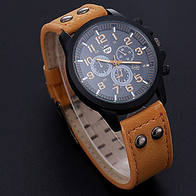 cheap Sport Watches-Men's Sport Watch Quartz PU Leather Black / Orange / Brown No Calendar / date / day New Design Casual Watch Analog Outdoor New Arrival - Black Brown Orange One Year Battery Life
