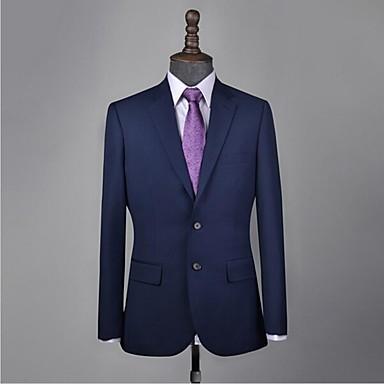 povoljno Prilagođeno odijelo-odijelo od morske plave vune