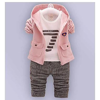 povoljno Odjeća za bebe Za dječake-Dijete Dječaci Osnovni Print Dugih rukava Regularna Normalne dužine Komplet odjeće Blushing Pink