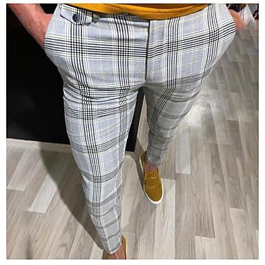 cheap Shoes & Bags-Men's Basic Suits Pants - Striped Yellow Red Gray US36 / UK36 / EU44 US38 / UK38 / EU46 US40 / UK40 / EU48