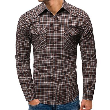 رخيصةأون قمصان رجالي-رجالي أساسي طباعة قميص, هندسي / ألوان متناوبة