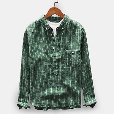 رخيصةأون قمصان رجالي-رجالي مقاس أوروبي / أمريكي قميص, مخطط مقلّم / كم طويل