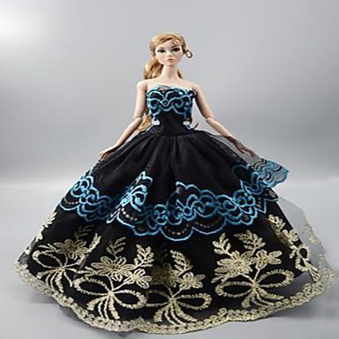 olcso Barbie baba ruházat-Baba ruha Party / Estélyi mert Barbie Csipke Organza Ruha mert Lány Doll Toy
