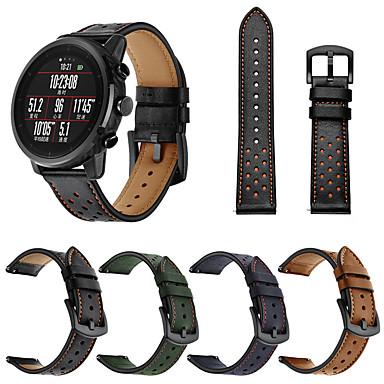 billiga Tillbehör till smarta klockor-lyxigt armband i läder för huami amazfit stratos 3 / stratos 2 2s / tempur / gtr 47mm utbytbart armband armband band armband