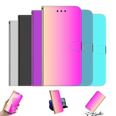 Недорогие Кейсы для iPhone-Кейс для Назначение Apple iPhone 11 / iPhone 11 Pro / iPhone 11 Pro Max Кошелек / со стендом / Зеркальная поверхность Чехол Градиент цвета / Однотонный Кожа PU