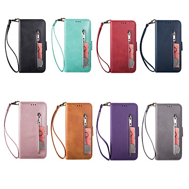 cheap Samsung Case-Case For Samsung Galaxy Galaxy A10(2019) / Samsung Galaxy A40(2019) / Samsung Galaxy A90(2019) Wallet / Card Holder Full Body Cases Solid Colored PU Leather