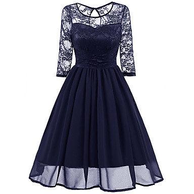 cheap Vintage Dresses-Women's A Line Dress - Long Sleeve Solid Colored Lace Lace Trims V Neck Elegant Sophisticated Event / Party Evening Party Wine Navy Blue S M L XL XXL