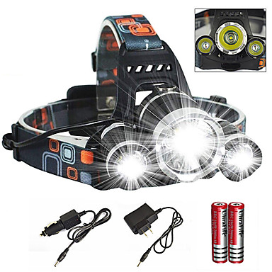 cheap Headlamps-Headlamps Headlight Waterproof Zoomable 6000 lm LED Emitters 1 Mode with Charger with Batteries and Charger Waterproof Zoomable Rechargeable Super Light Camping / Hiking / Caving Cycling / Bike