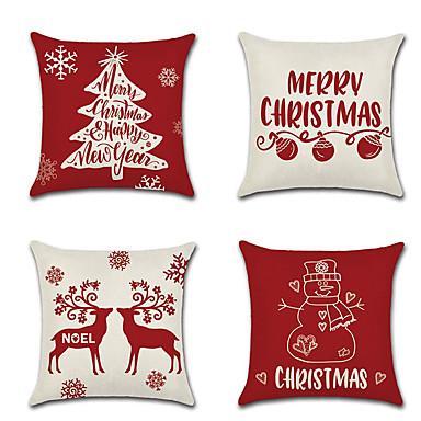 رخيصةأون وسائد-4 قطع غطاء وسادة الكتان ، ونقلت&أمبير. أقوال الأزهار المطبوعة التقليدية عيد الميلاد رمي وسادة