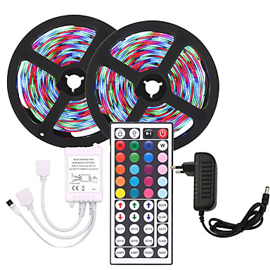 cheap Flexible LED Light Strips-KWB 10m Flexible LED Light Strips / Light Sets / RGB Strip Lights 600 LEDs SMD3528 8mm 1 44Keys Remote Controller / 1 X 12V 3A Power Supply RGB Christmas / New Year's Waterproof / Cuttable / Party