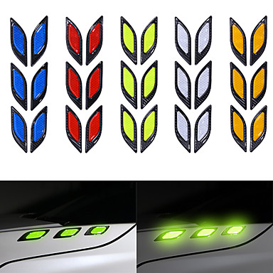 olcso Autóipari külső kiegészítők-6db / készlet teherautó-matrica fényvisszaverő csíkok éjszakai biztonsági figyelmeztető fényvisszaverő szalag ütközésgátló dekoratív matricák autóstílus