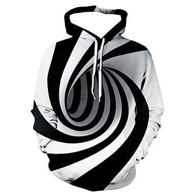 olcso Férfi pólók és pulóverek-Férfi Alkalmi / Alap Kapucnis felsőrész Csíkos / Mértani / 3D Kapucni