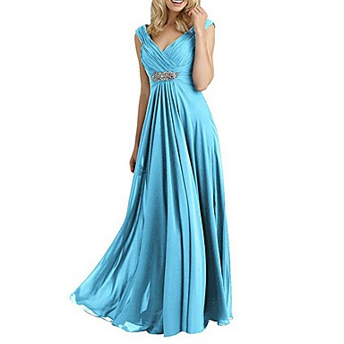 cheap Special Occasion Dresses-A-Line Plunging Neck Floor Length Chiffon Elegant Formal Evening Dress 2020 with Crystal Brooch / Pleats