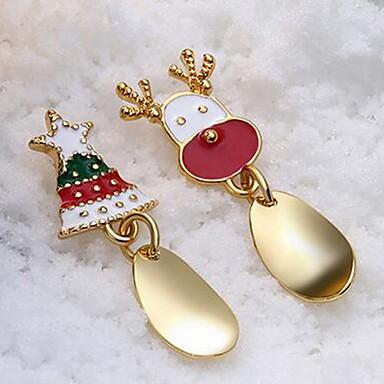 رخيصةأون أقراط-نسائي أقراط غير متطابقة غير متطابقة Elk شجرة الكريسماس لطيف الأقراط مجوهرات ذهبي / فضي من أجل عيد الميلاد 1 زوج