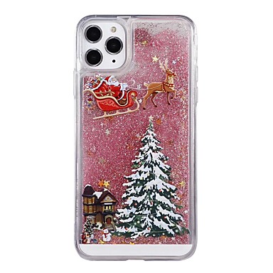 cheap iPhone Cases-Case For Apple iPhone 11 / iPhone 11 Pro / iPhone 11 Pro Max Flowing Liquid / Pattern / Glitter Shine Back Cover Glitter Shine / Christmas TPU / PC