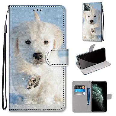 Недорогие Кейсы для iPhone X-Кейс для Назначение Apple iPhone 11 / iPhone 11 Pro / iPhone 11 Pro Max Кошелек / Бумажник для карт / со стендом Чехол С собакой Кожа PU / ТПУ