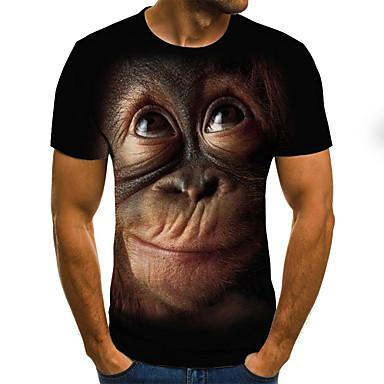 저렴한 남성 티셔츠&탱크 탑-남성용 기하학 / 3D / 동물 라운드 넥 플러스 사이즈 주름장식 / 프린트 - 티셔츠, 스트리트 쉬크 / 과장된 블랙 / 짧은 소매