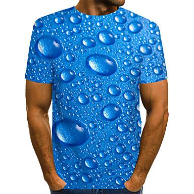 저렴한 남성 티셔츠&탱크 탑-남성용 3D / 그래픽 / 문자 주름장식 / 프린트 - 티셔츠, 스트리트 쉬크 / 과장된 푸른