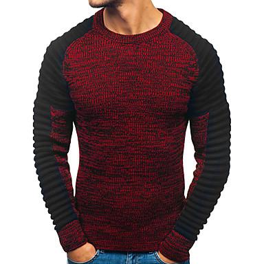 Недорогие Мужские свитера и кардиганы-Муж. Контрастных цветов Длинный рукав Пуловер Свитер джемпер Осень / Зима Красный / Темно-серый M / L / XL