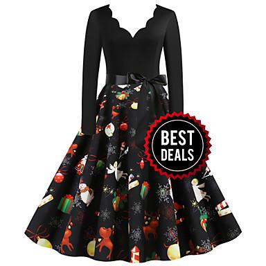 cheap New Arrival-Women's Christmas Party Daily Wear Basic A Line Dress - Color Block V Neck Black S M L XL