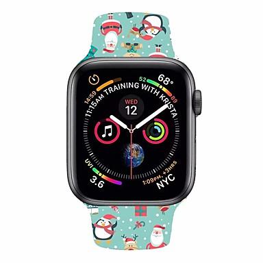 voordelige Smartwatch-accessoires-horlogeband voor Apple Watch-serie 5/4/3/2/1 Apple sportband / klassieke gesp siliconen polsband kerststijl