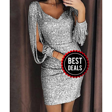 cheap Black Friday-Women's Cocktail Party Sexy Slim Bodycon Dress Sequins V Neck Black Silver Yellow S M L XL