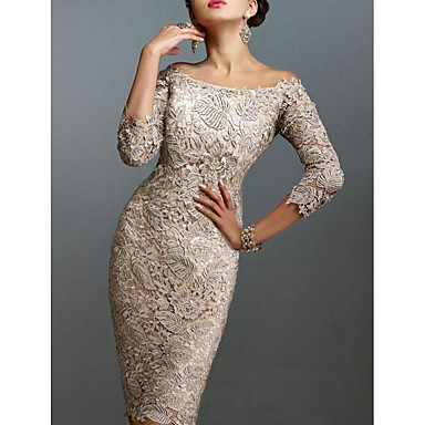 cheap Special Occasion Dresses-Sheath / Column Off Shoulder Knee Length Lace Elegant Cocktail Party / Holiday Dress 2020 with