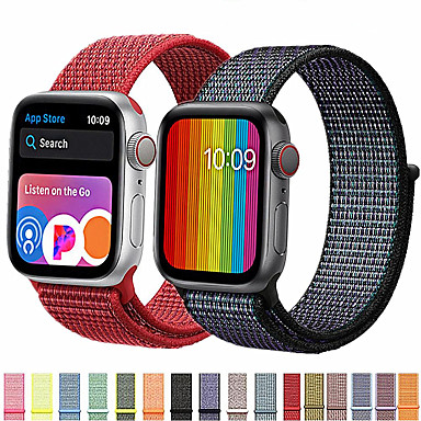abordables Correas para Apple Watch-banda para apple watch series 5/4 / 3/2/1 38mm 40mm 42mm 44mm correa de repuesto suave y transpirable de nylon bucle deportivo para la serie iwatch