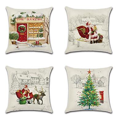 رخيصةأون وسائد-4 قطع غطاء وسادة الكتان ، عطلة عيد الميلاد ندفة الثلج الكرتون رمي وسادة