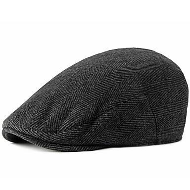 رخيصةأون قبعات الرجال-الخريف أسود بني رمادي قبعة قلنسوة مخطط رجالي بوليستر,أساسي