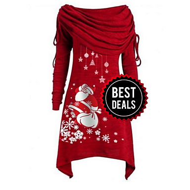 cheap Black Friday-Women's Christmas Party Daily Wear Basic Asymmetrical A Line Dress - Geometric Off Shoulder Black Purple Blue S M L XL