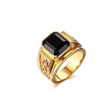 ieftine Inele-Bărbați Inel Geometric Negru Vișiniu Albastru Alamă Placat Auriu Balaur Modă 1 buc 8 9 10 11 12