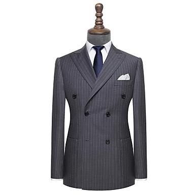 povoljno Prilagođeno odijelo-odijelo od lagane drvene ugljene pruge po mjeri