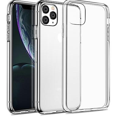 رخيصةأون أغطية أيفون-غطاء من أجل Apple اي فون 11 / iPhone 11 Pro / iPhone 11 Pro Max شفاف غطاء خلفي شفاف / لون سادة TPU