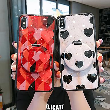 voordelige iPhone-hoesjes-hoesje Voor Apple iPhone 11 / iPhone 11 Pro / iPhone 11 Pro Max met standaard / Spiegel / Patroon Achterkant Hart TPU