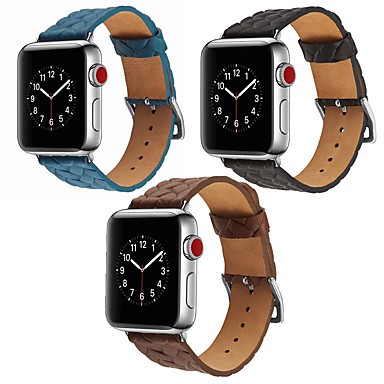 voordelige Smartwatch-accessoires-lederen band in geweven patroonstijl voor Apple Watch-serie 5 4 3 2 1-band armband voor iwatch 40 mm 44 mm 38 mm 42 mm polsriem