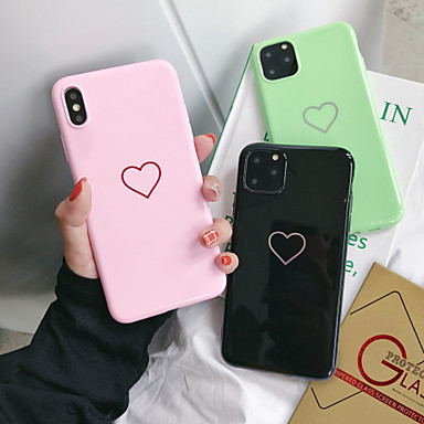 voordelige iPhone-hoesjes-hoesje Voor Apple iPhone 11 / iPhone 11 Pro / iPhone 11 Pro Max Stofbestendig / Beplating / IMD Achterkant Woord / tekst / Hart / Cartoon TPU