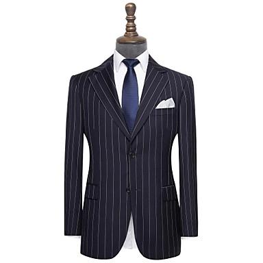 levne Pánské obleky-námořnická modrá pruhovaná vlna vlastní oblek