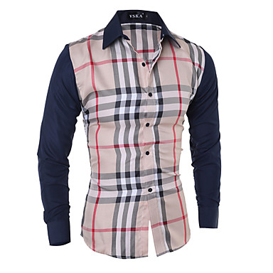رخيصةأون قمصان رجالي-رجالي أناقة الشارع / أنيق طباعة قميص, هندسي / ألوان متناوبة