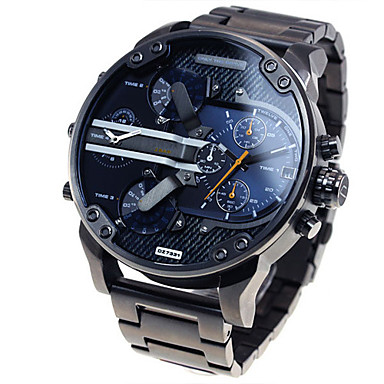 cheap Sport Watches-Men's Military Watch Wrist Watch Steel Band Watches Oversized Black Calendar / date / day Dual Time Zones Cool Analog Luxury Classic Vintage Casual - Blue Grey Gold / Black Two Years Battery Life