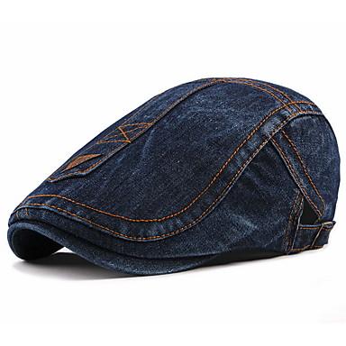 povoljno Muški šeširi-Muškarci Prugasti uzorak Osnovni Poliester-Beretka Jesen Crn Svjetloplav Plava
